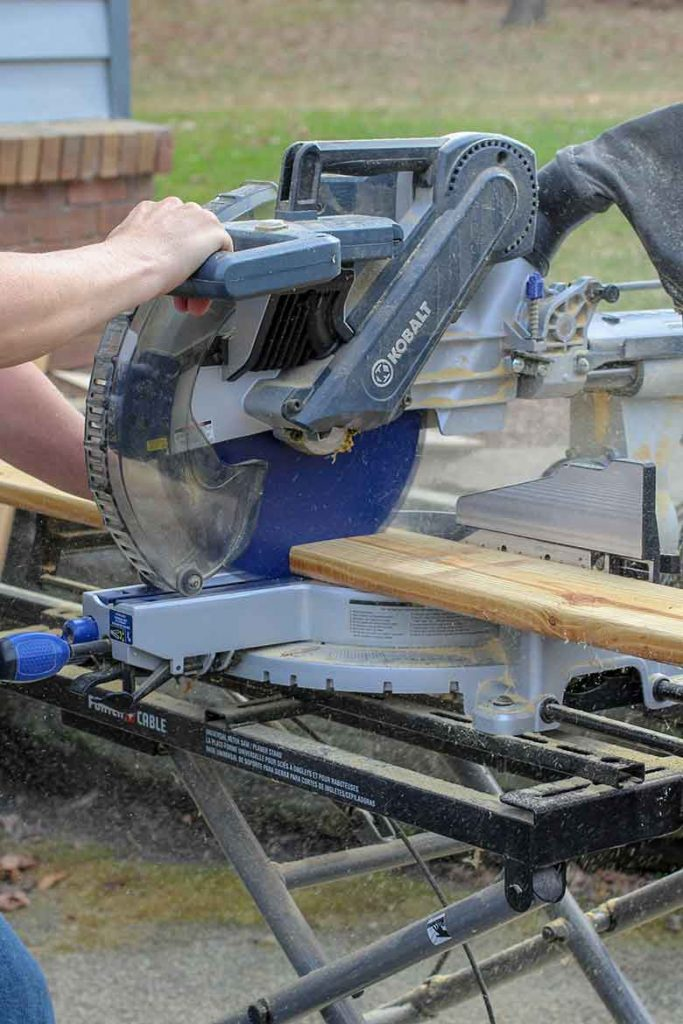 Using the compound miter saw to cut boards to length