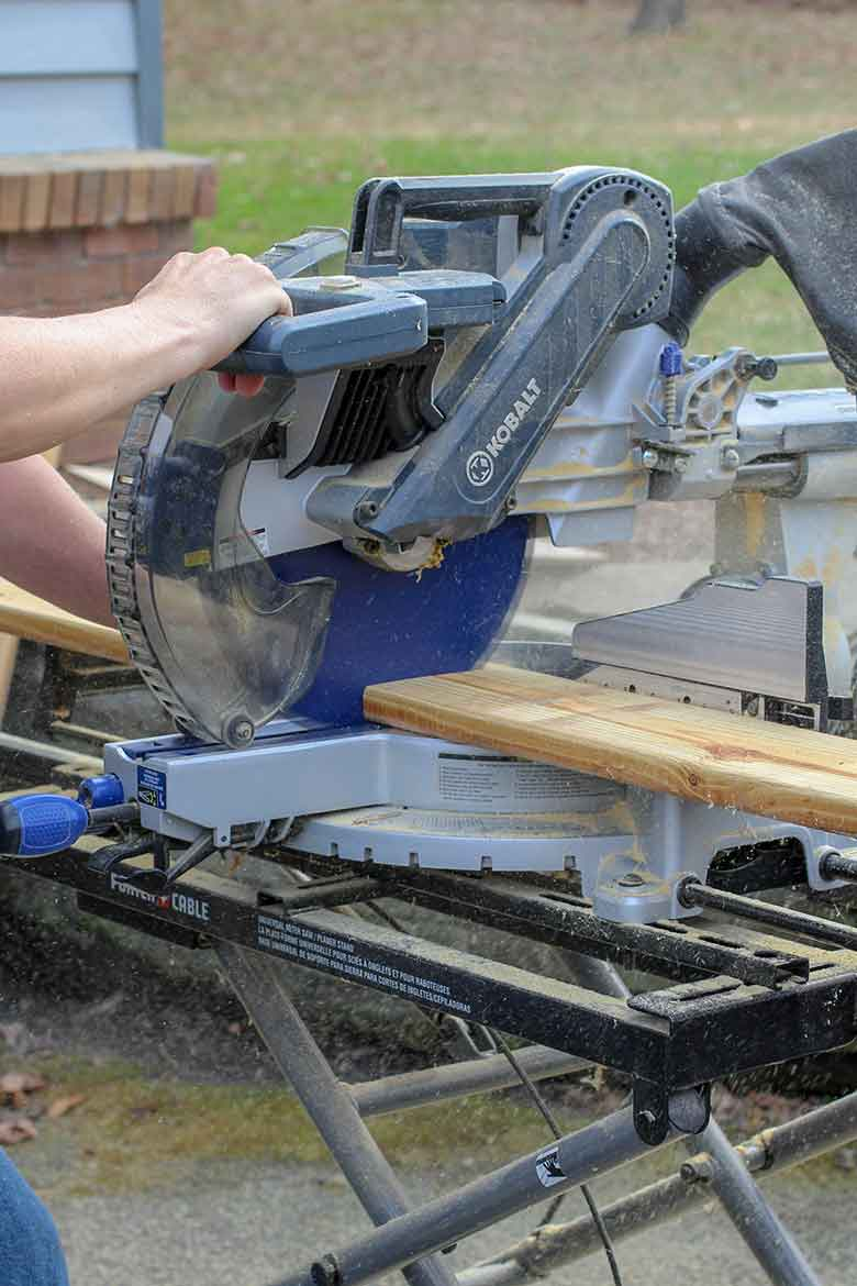 Cutting boards to size with a Miter Saw for buiding a compost bin