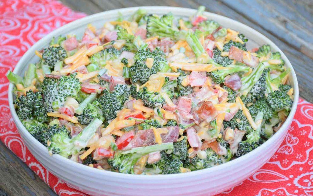 Broccoli Salad with Bacon, Jalapeno, and Macadamia