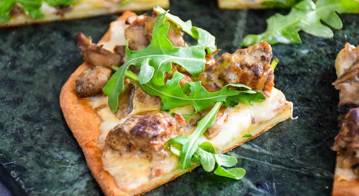 Meatball Pizza with Alfredo Sauce and Arugula