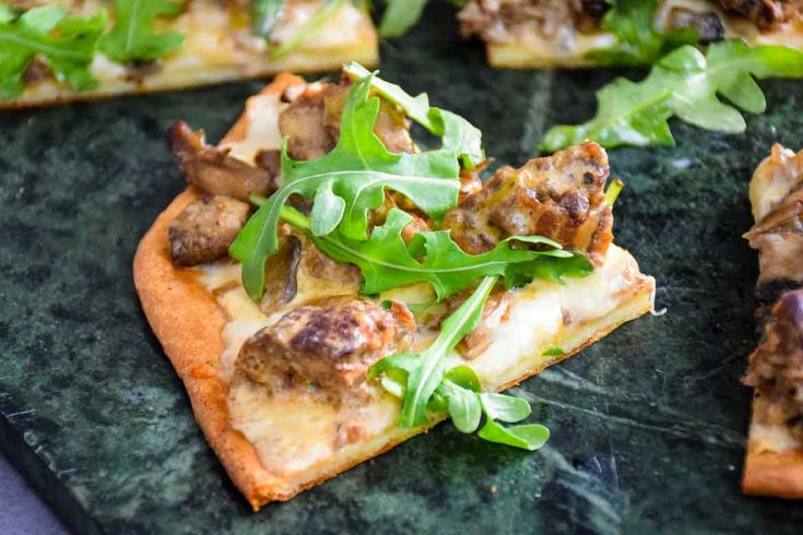 Venison Meatball Pizza with Alfredo Sauce and Arugula