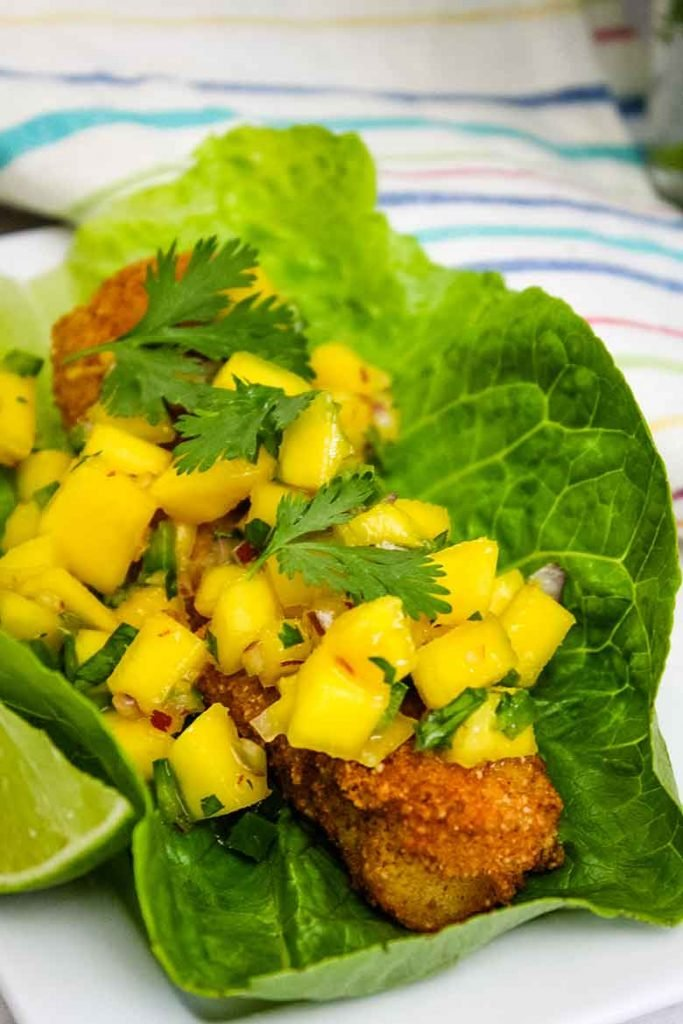 Serving suggestion: Fried Cod Fish in a lettuce wrap with mango salsa