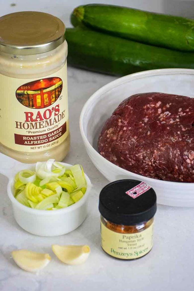 Ingredients for alfredo recipe