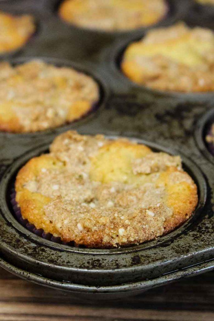Rhubarb Muffins cooling in baking pan