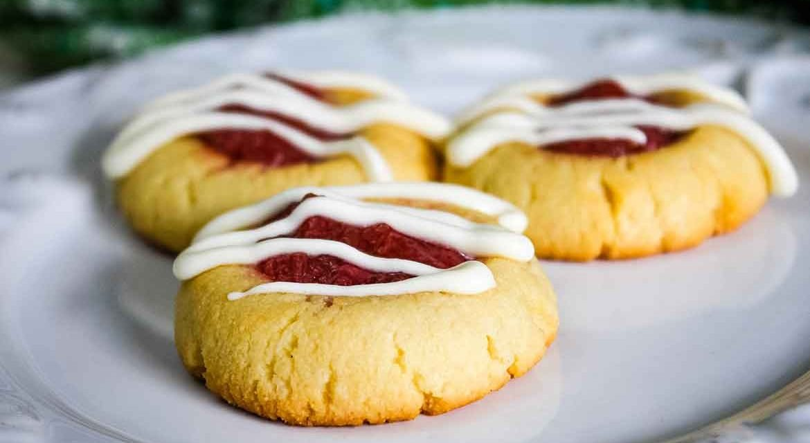 Strawberry Rhubarb Thumbprint Cookies – A Sugar-Free Recipe