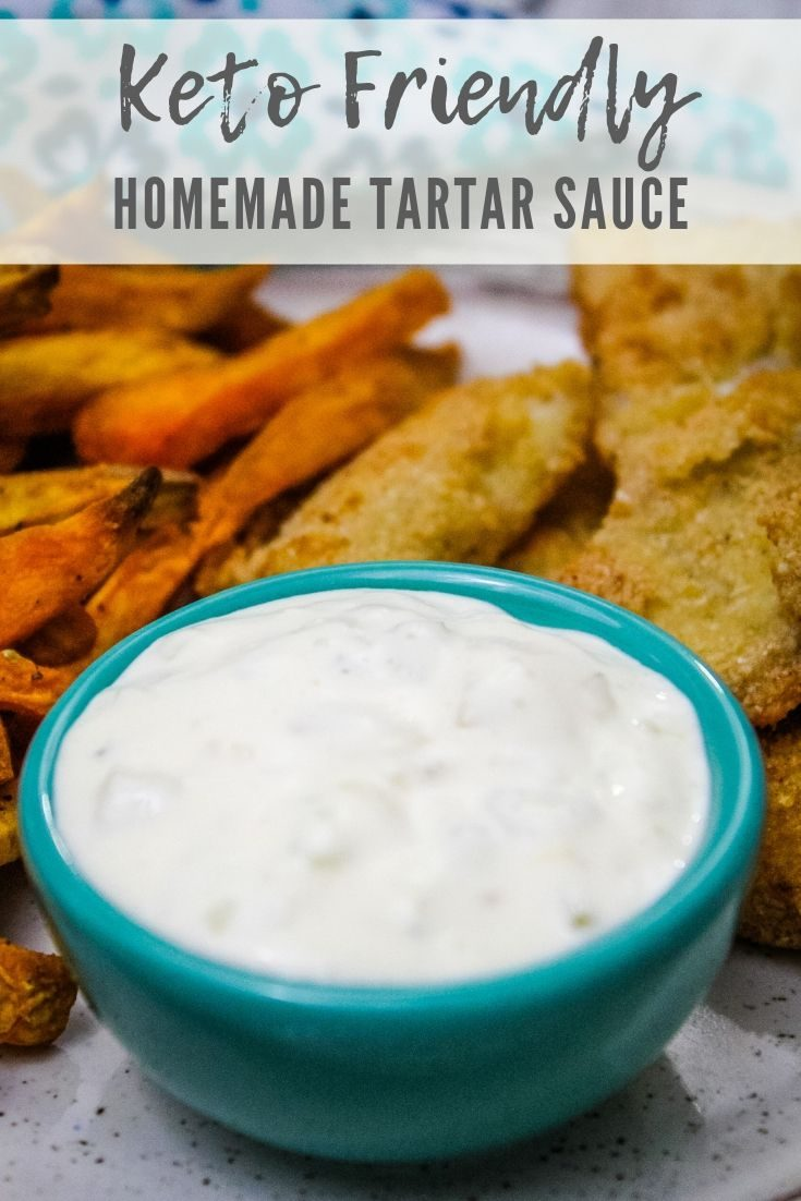 Homemade Tartar Sauce that is low carb and keto friendly. Perfect for dipping your favorite seafood. #homemade #tartarsauce #sauce #dip #HHrecipes