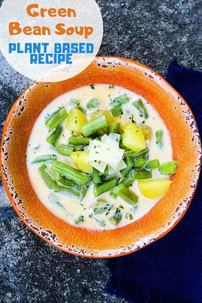 Pinnable Image for Green Bean Soup Plant Based Recipe