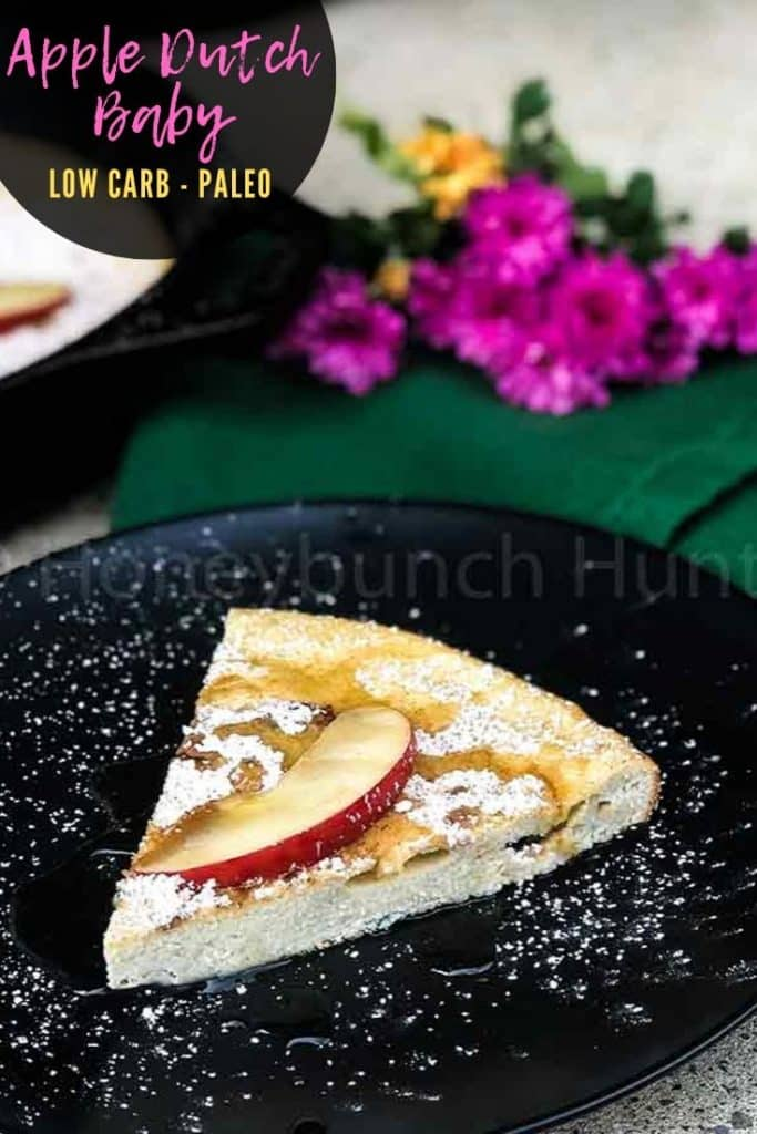 Apple Dutch Baby on black plate pin image