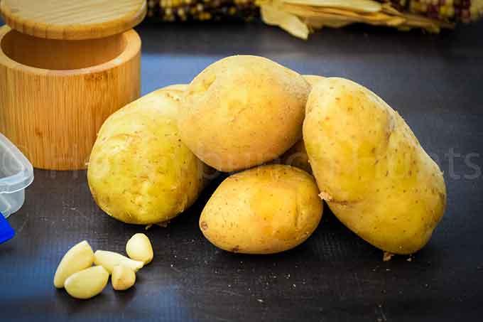 Yukon Gold Potatoes and whole garlic cloves
