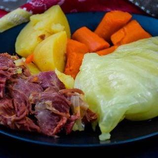 Ham Boiled Dinner on a black plate