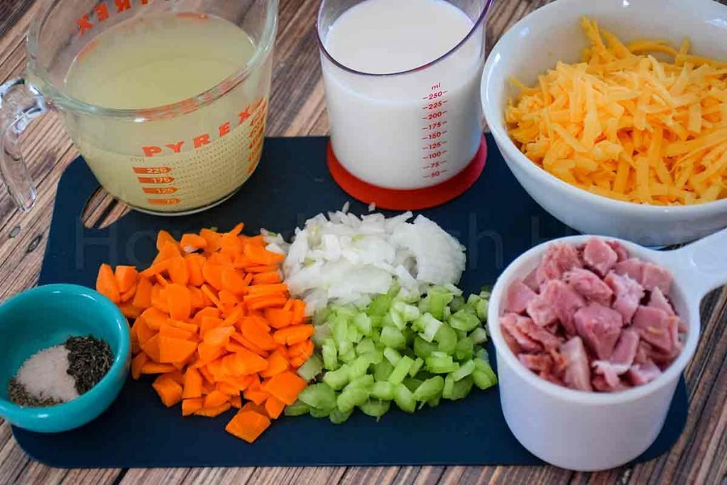 Casserole ingredients in measuring cups