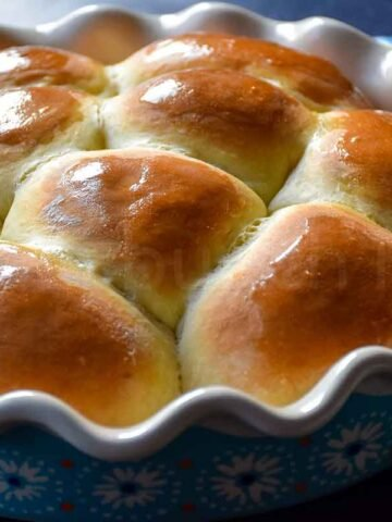 Quick Dinner Rolls in baking dish just out of the oven