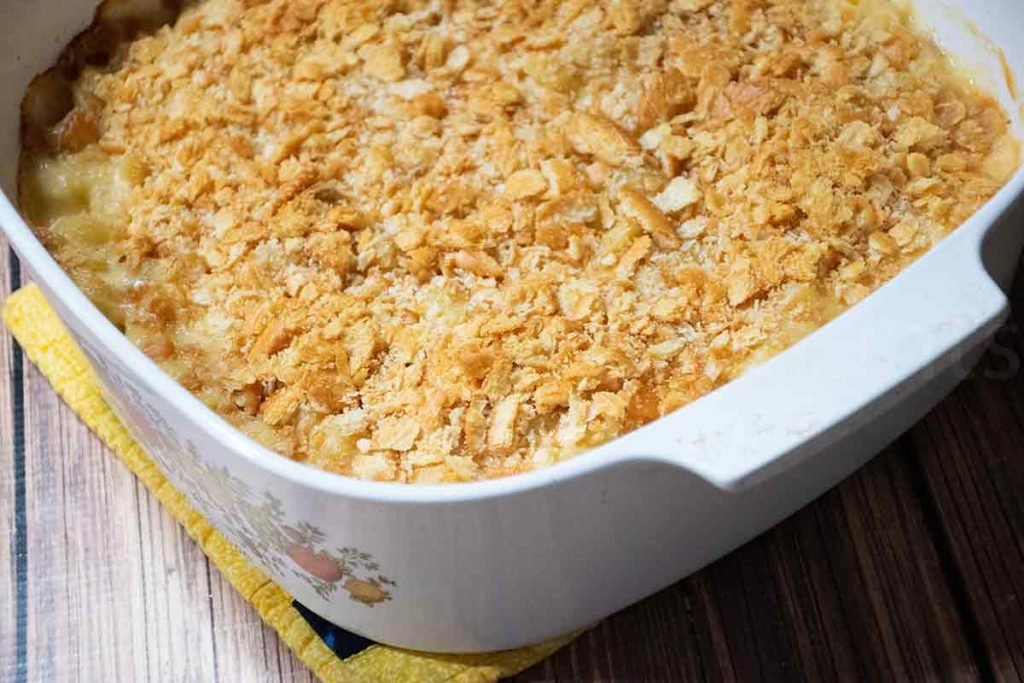 Baked casserole with browned crispy cracker topping