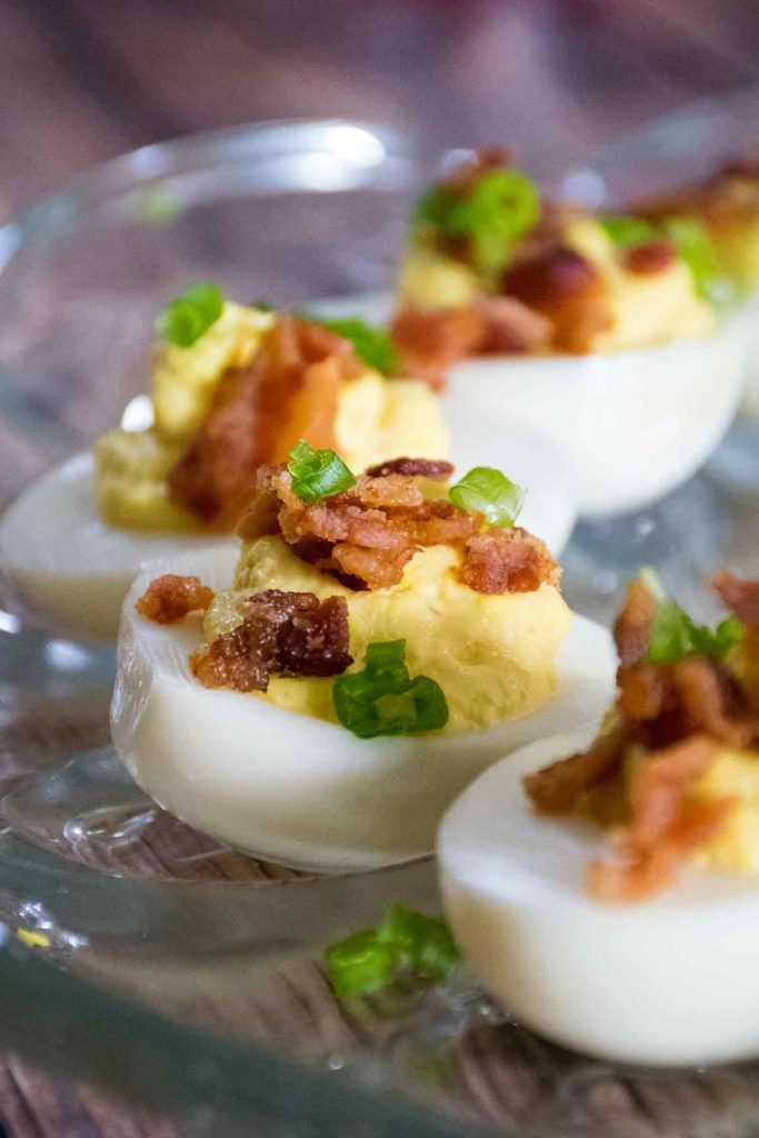 Bacon Deviled Eggs on a serving platter