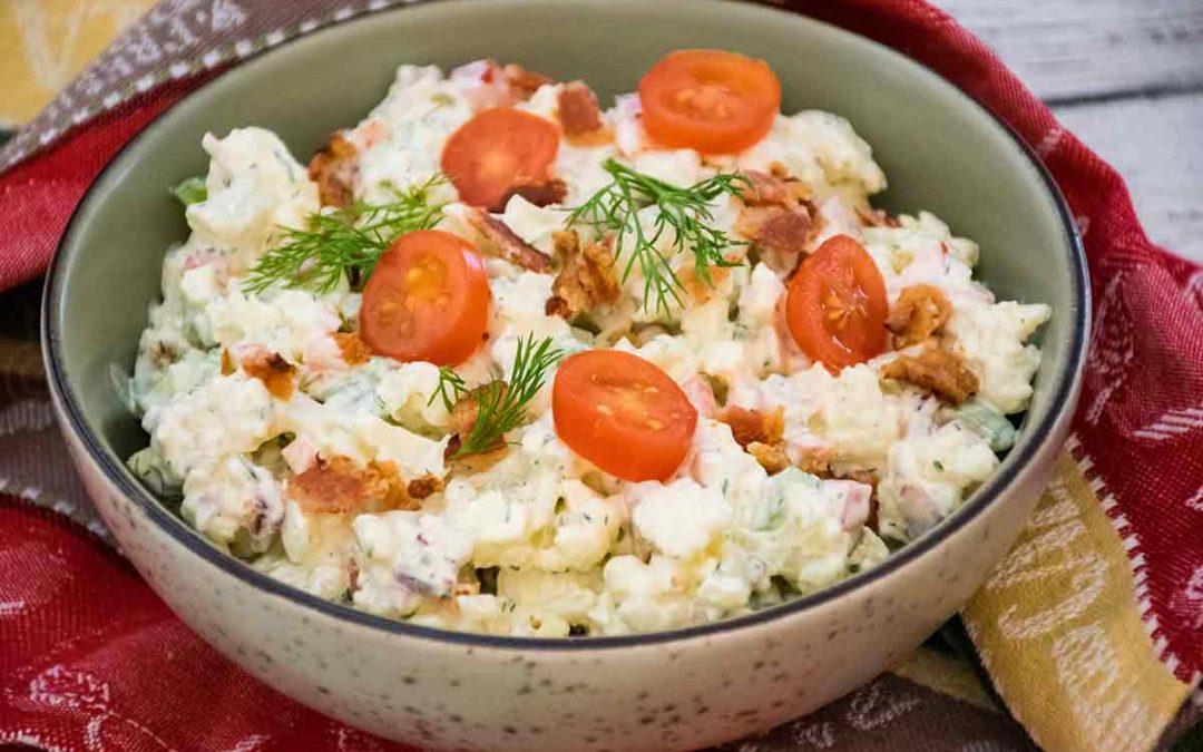 Keto Potato Salad with Bacon, Dill, and Jalapeno