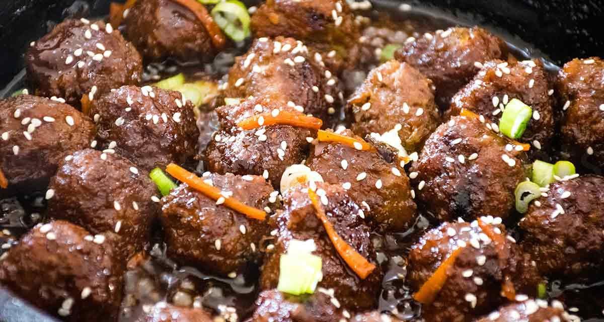 Mongolian Meatballs with Spicy Sweet Glaze