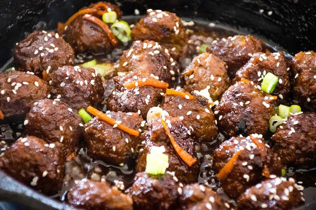 Mongolian meatballs in a skillet