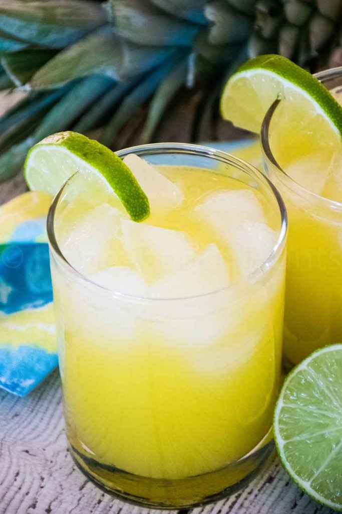 Two glasses of Pineapple Agua Fresca