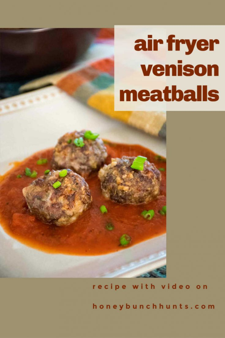 Air Fryer Meatballs with Ground Venison are a gluten-free, low carb, keto recipe that is quick, easy, and delicious! #airfryer #venison #groundvenison #meatballs #HHrecipes