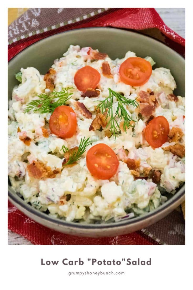 Keto Potato Salad recipe with bacon, dill, and jalapeno. #keto #lowcarb #salad #HHrecipes