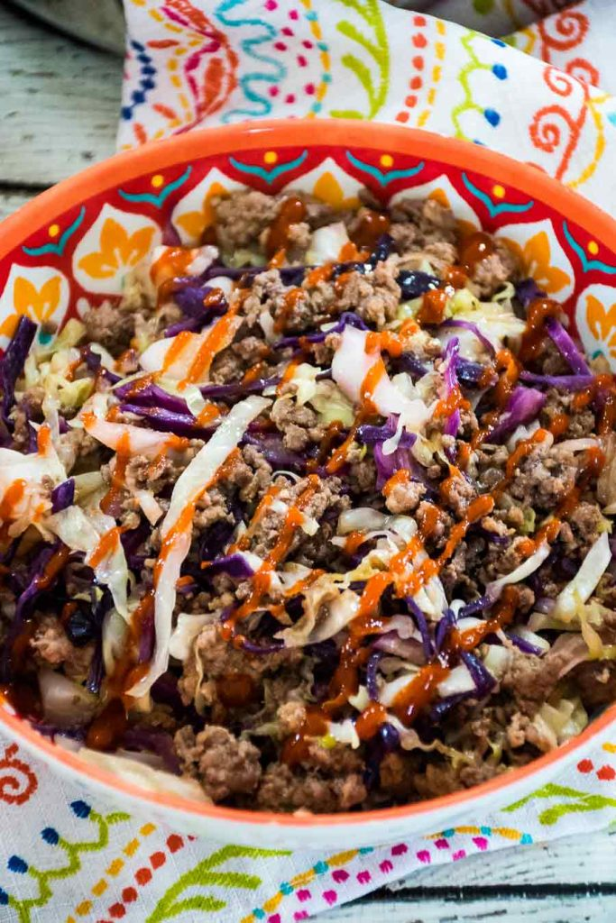 Eggroll in a bowl with ground venison