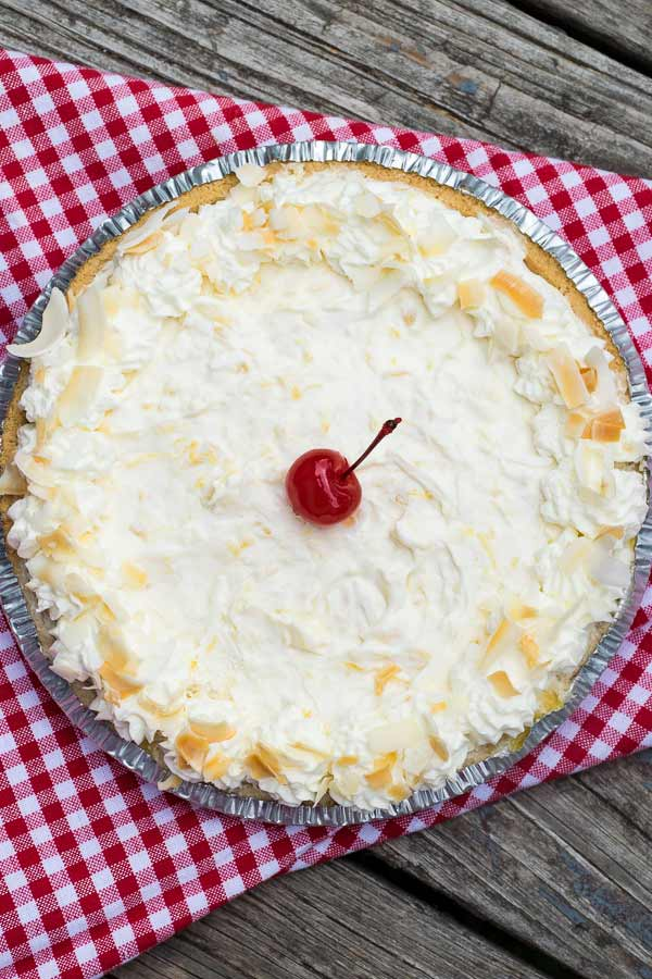 Pina Colada Pie with a cherry in the center