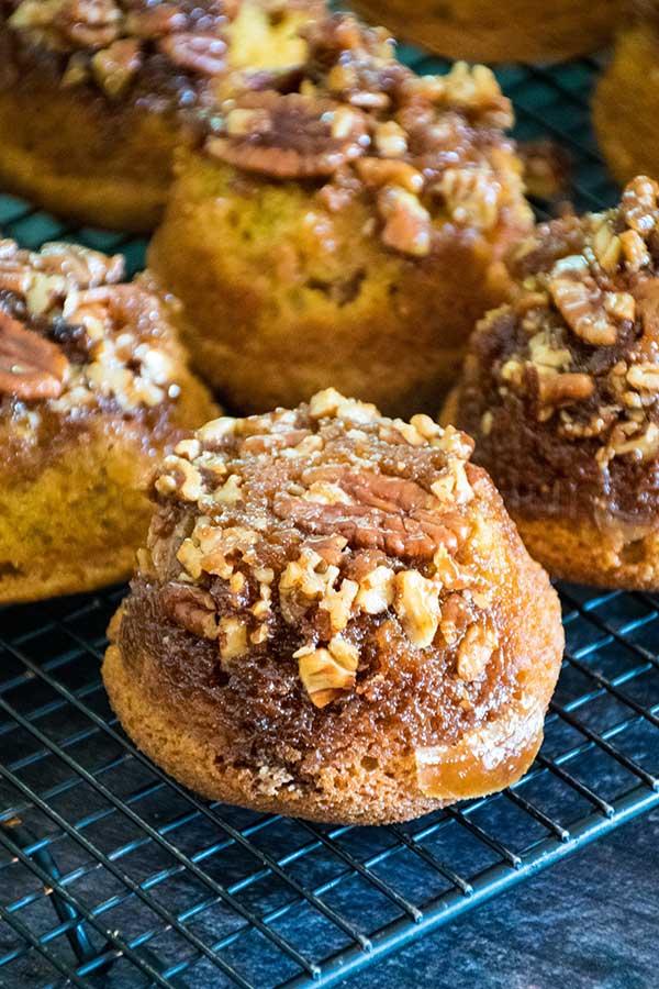 Praline Pumpkin Muffins on a cooling rack