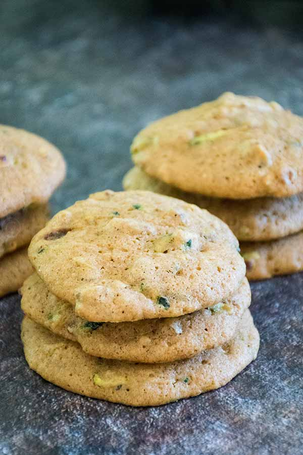 a stack of zucchini spice cookies