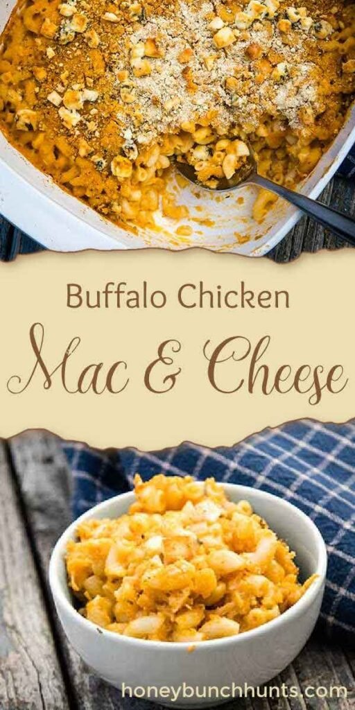 Pinnable image for buffalo chicken mac and cheese
