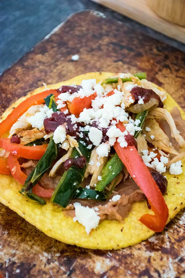 Up close image of baked turkey tostada