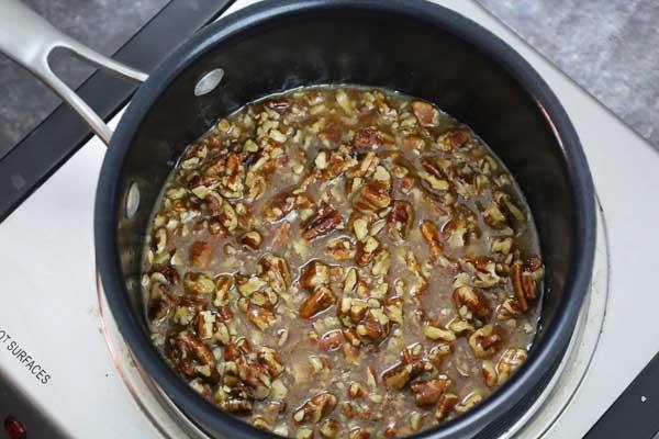 pecan pie filling in the sauce pan