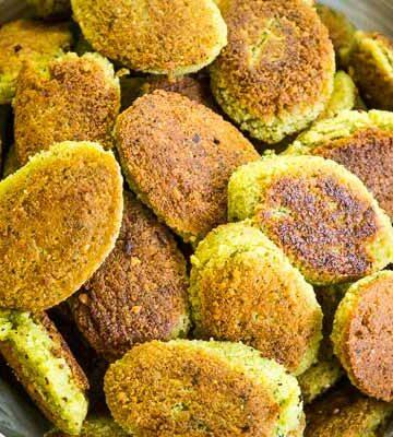 A bowl full of homemade falafel