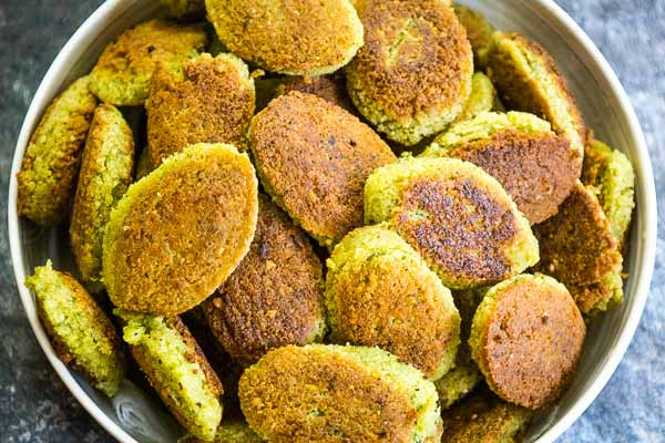 A bowl full of homemade falafel