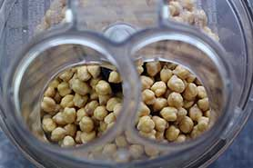 dried soaked chickpeas in food processor.